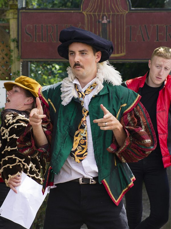 Sarah Martin, Harrison Rose and Matthew Headon in The Taming of the Shrew, 2018