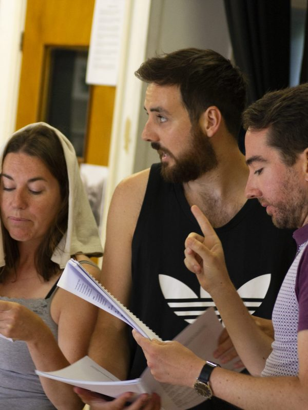 Sarah Martin, Harrison Rose and Jon-Paul Rowden in The Taming of the Shrew Rehearsal, 2018