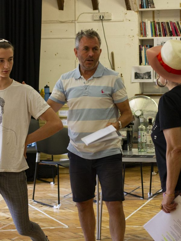 Crispin Glancy, Chris Hollis and Paddy Navin in The Taming of the Shrew Rehearsal, 2018