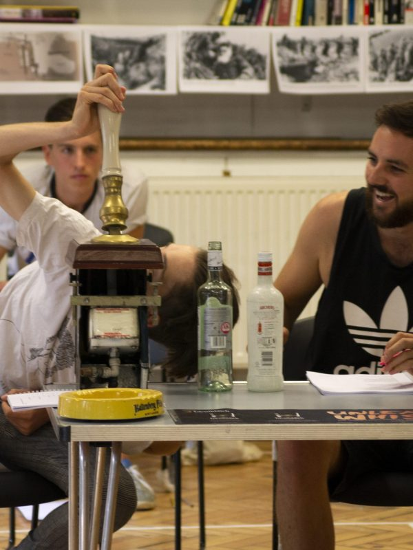Crispin Glancy and Harrison Rose in The Taming of the Shrew Rehearsal, 2018