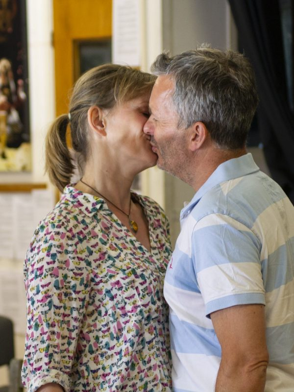 Chris Hollis and Joy Brook in The Taming of the Shrew Rehearsal, 2018